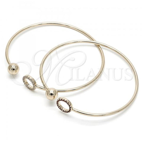 Gold Layered Individual Bangle, Ball Design, with Crystal, Golden Tone
