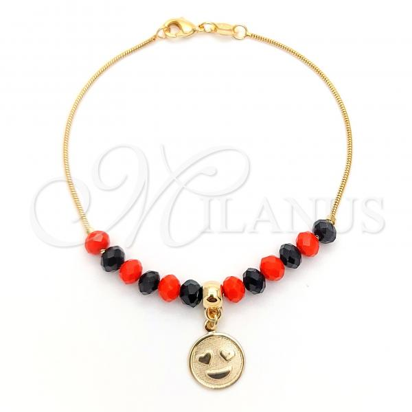 Gold Layered 03.32.0195.07 Charm Bracelet, Smile and Snake  Design, with Black and Orange Red Azavache, Multicolor Polished Finish, Golden Tone