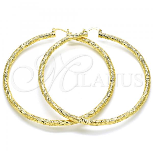 Gold Layered 02.170.0266.80 Extra Large Hoop, Hollow Design, Diamond Cutting Finish, Golden Tone