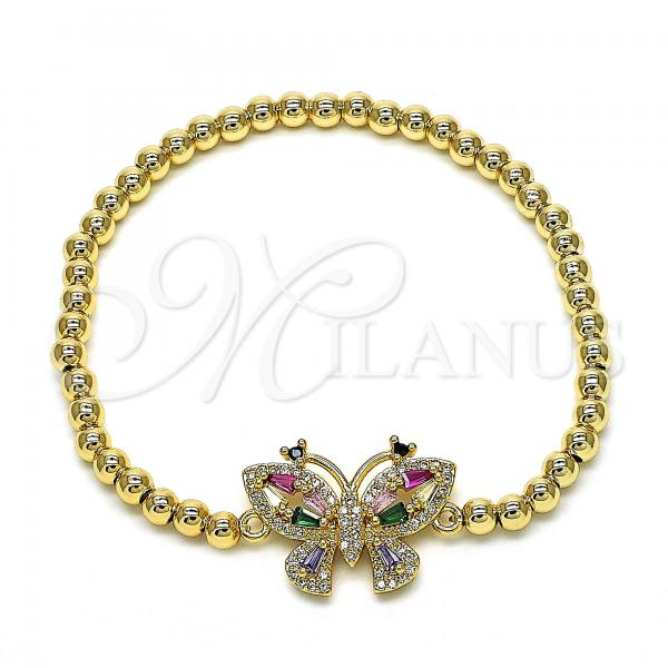 Gold Layered 03.207.0096.07 Fancy Bracelet, Butterfly and Ball Design, with Multicolor Cubic Zirconia, Polished Finish, Golden Tone