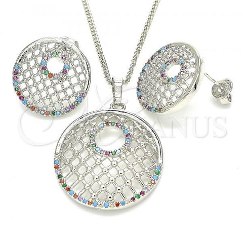 Gold Layered 10.233.0037.4 Earring and Pendant Adult Set, with Multicolor Cubic Zirconia, Resin Finish, Rhodium Tone