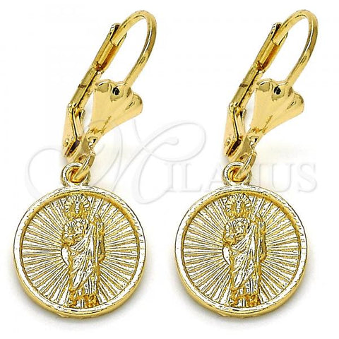 Gold Layered 02.253.0002 Dangle Earring, San Judas Design, Polished Finish, Golden Tone