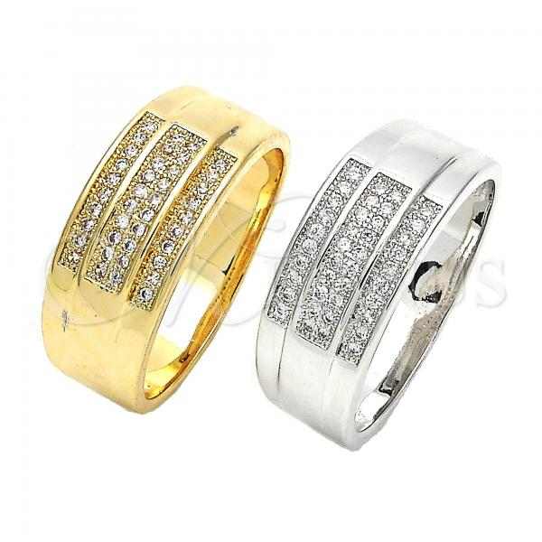 Gold Layered Mens Ring, with Micro Pave, Golden Tone