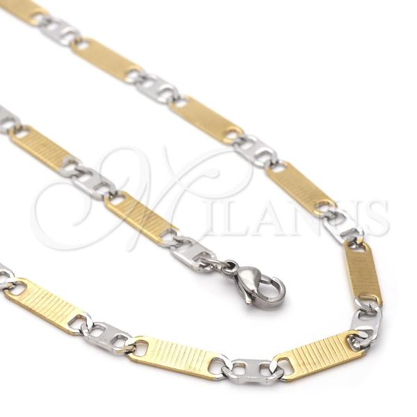 Stainless Steel 04.113.0055.24 Necklace and Bracelet, Mariner Design, Diamond Cutting Finish, Two Tone