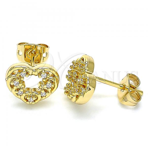 Gold Layered 02.342.0102 Stud Earring, Heart Design, with White Micro Pave, Polished Finish, Golden Tone