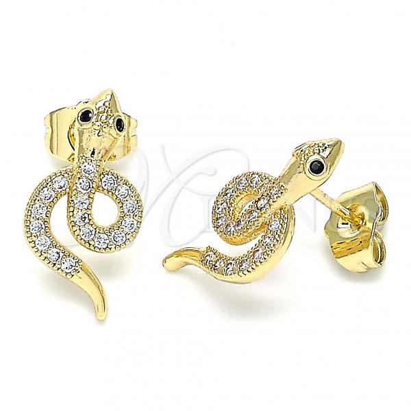Gold Layered 02.210.0375 Stud Earring, Snake Design, with White and Black Micro Pave, Polished Finish, Golden Tone