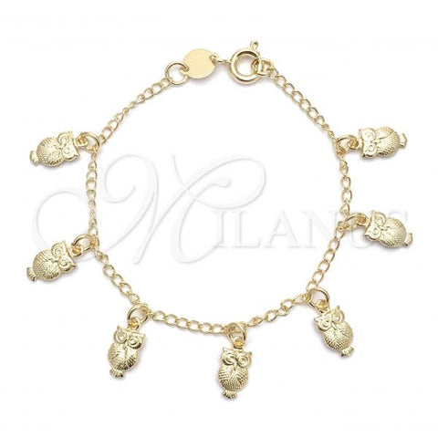 Gold Layered 03.32.0302.06 ID Bracelet, Owl and Figaro Design, Polished Finish, Golden Tone