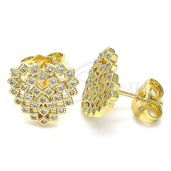 Gold Layered 02.156.0510 Stud Earring, Heart Design, with White Micro Pave, Polished Finish, Golden Tone