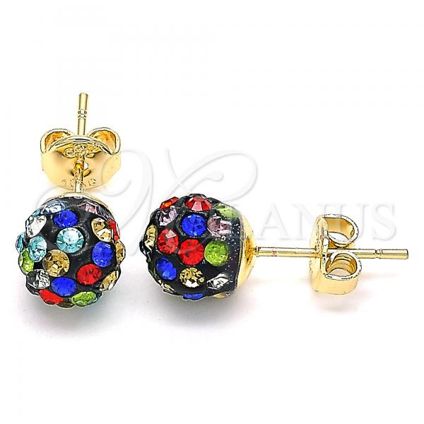 Gold Layered 02.63.2707.8 Stud Earring, with Multicolor Crystal, Polished Finish, Golden Tone