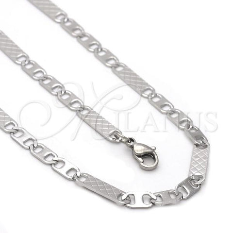 Stainless Steel 04.113.0054.24 Necklace and Bracelet, Mariner Design, Diamond Cutting Finish, Steel Tone