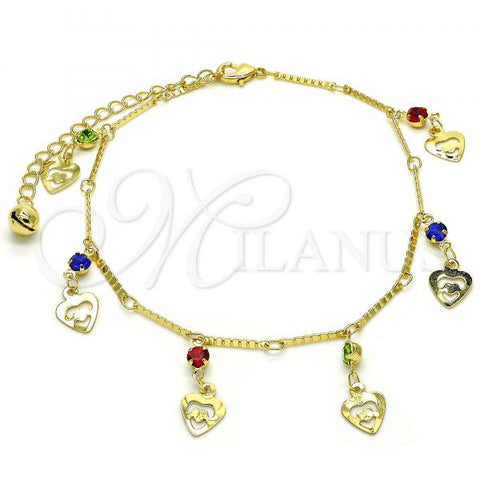 Gold Layered 03.213.0074.10 Charm Anklet , Heart and Rattle Charm Design, with Multicolor Crystal, Polished Finish, Golden Tone
