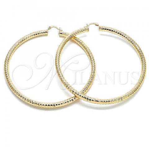 Gold Layered 02.170.0312.90 Extra Large Hoop, Hollow Design, Diamond Cutting Finish, Golden Tone