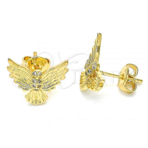 Gold Layered 02.156.0320 Stud Earring, Eagle Design, with White Micro Pave, Polished Finish, Golden Tone