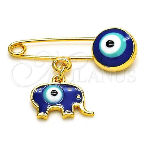 Gold Layered 13.60.0004 Basic Brooche, Elephant and Greek Eye Design, Blue Enamel Finish, Golden Tone