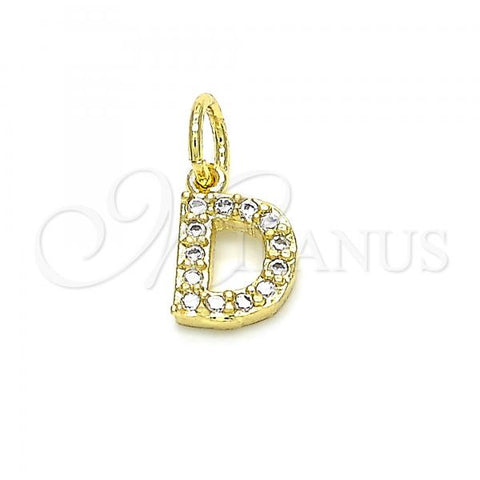 Gold Layered 05.341.0024 Fancy Pendant, Initials Design, with White Cubic Zirconia, Polished Finish, Golden Tone