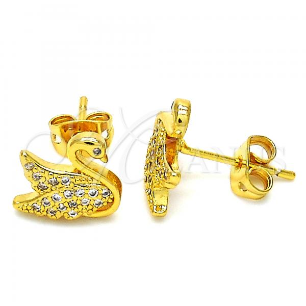 Gold Layered 02.342.0012 Stud Earring, Swan Design, with White Micro Pave, Polished Finish, Golden Tone