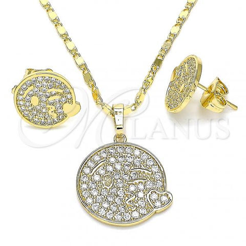 Gold Layered 10.316.0060 Earring and Pendant Adult Set, Heart Design, with White Micro Pave, Polished Finish, Golden Tone