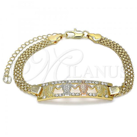 Gold Layered 03.380.0027.08 Fancy Bracelet, Turtle Design, with White Crystal, Polished Finish, Tri Tone