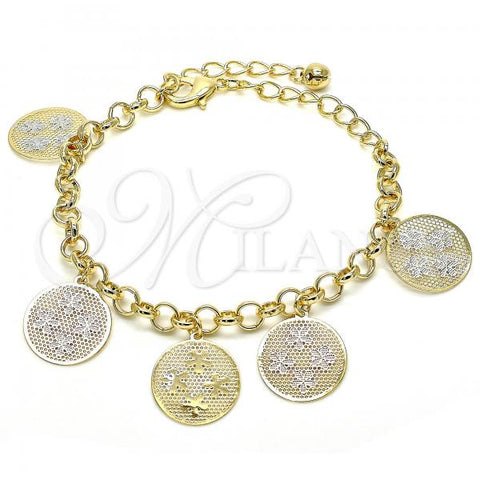 Gold Layered 03.331.0031.08 Charm Bracelet, Flower and Rattle Charm Design, Polished Finish, Tri Tone