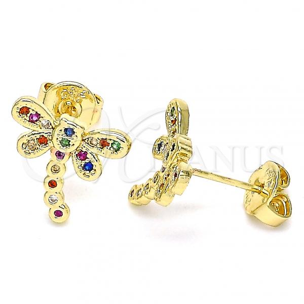 Gold Layered 02.156.0396.4 Stud Earring, Dragon-Fly Design, with Multicolor Micro Pave, Polished Finish, Golden Tone