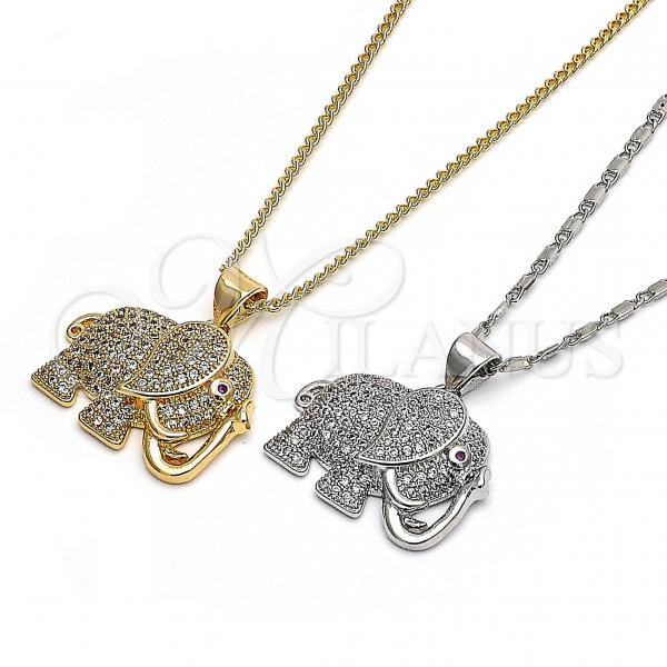Gold Layered Pendant Necklace, Elephant Design, with Micro Pave, Golden Tone