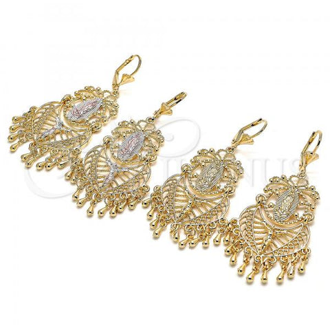 Gold Layered Long Earring, Guadalupe Design, Golden Tone Golden Tone
