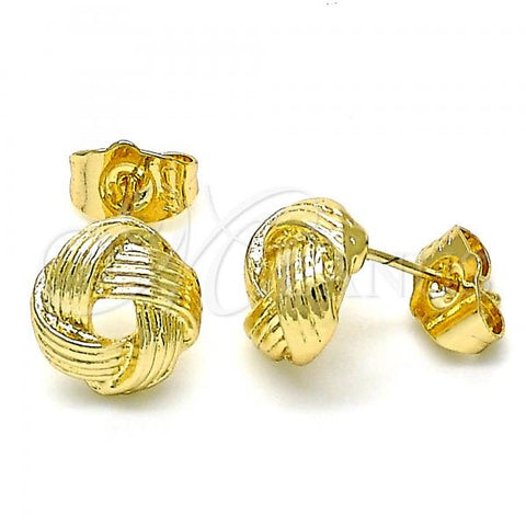 Gold Layered 02.213.0165 Stud Earring, Love Knot Design, Polished Finish, Golden Tone