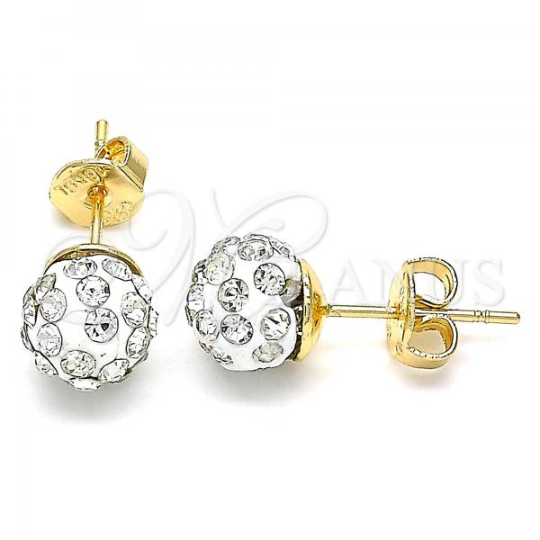 Gold Layered 02.63.2707.5 Stud Earring, with White Crystal, Polished Finish, Golden Tone