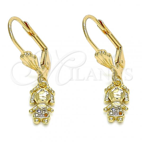Gold Layered 02.316.0064.1 Dangle Earring, Little Girl Design, with Multicolor Micro Pave, Polished Finish, Golden Tone