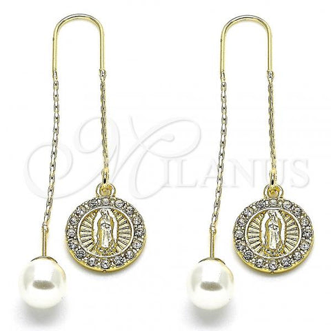 Gold Layered 02.253.0007 Threader Earring, Guadalupe Design, with White Crystal, Polished Finish, Golden Tone