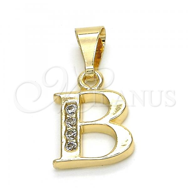 Gold Layered 05.26.0013 Fancy Pendant, Initials Design, with White Cubic Zirconia, Polished Finish, Golden Tone