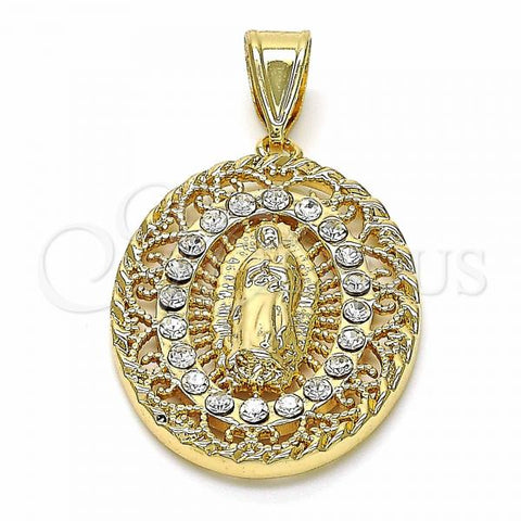 Gold Layered 05.253.0068 Religious Pendant, Guadalupe Design, with White Crystal, Polished Finish, Golden Tone