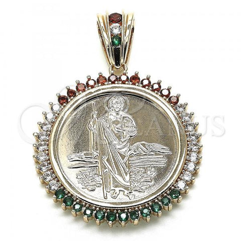 Gold Layered 05.63.1160.1 Religious Pendant, San Judas and Centenario Coin Design, with Multicolor Cubic Zirconia, Polished Finish, Golden Tone