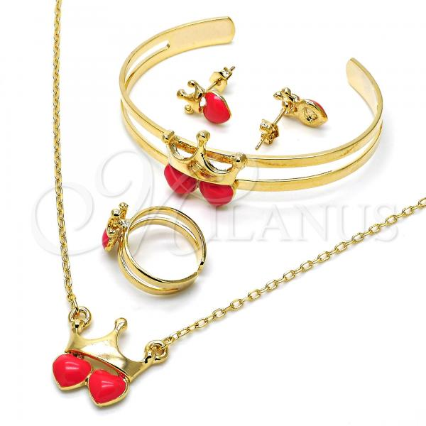 Gold Layered 06.65.0120 Earring and Pendant Children Set, Crown and Heart Design, Dark Pink Enamel Finish, Golden Tone