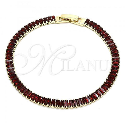 Gold Layered 03.130.0005.07 Tennis Bracelet, with Garnet Cubic Zirconia, Polished Finish, Golden Tone