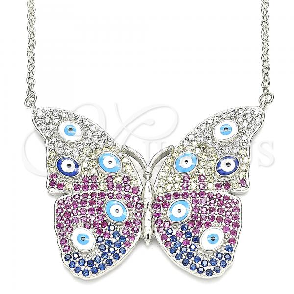 Sterling Silver 04.336.0215.16 Fancy Necklace, Butterfly and Greek Eye Design, with White Micro Pave, Multicolor Enamel Finish, Rhodium Tone