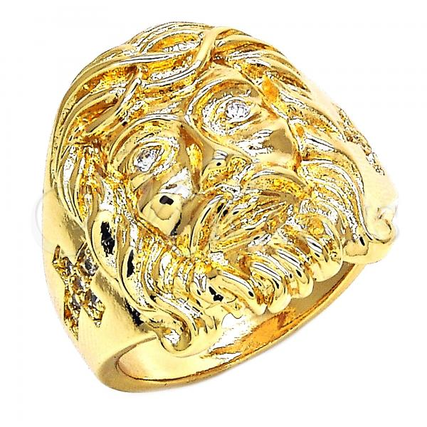Gold Layered Mens Ring, Jesus and Cross Design, with Cubic Zirconia, Golden Tone
