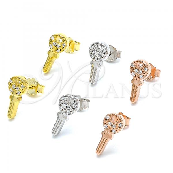 Sterling Silver Stud Earring, key and Heart Design, with Cubic Zirconia, Rhodium Tone