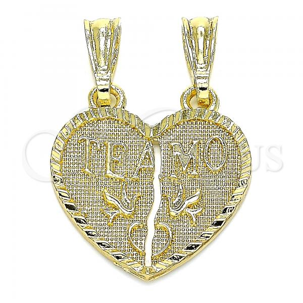 Gold Layered 05.351.0107 Fancy Pendant, Heart Design, Polished Finish, Golden Tone
