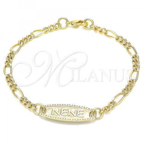 Gold Layered 03.63.2159.06 ID Bracelet, Figaro Design, Polished Finish, Golden Tone