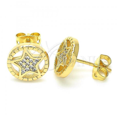 Gold Layered 02.156.0395 Stud Earring, Star Design, with White Crystal, Polished Finish, Golden Tone