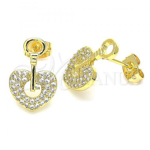 Gold Layered 02.156.0400 Stud Earring, key and Lock Polished Finish, Design, Golden Tone with White Micro Pave, Polished Finish, Golden Tone
