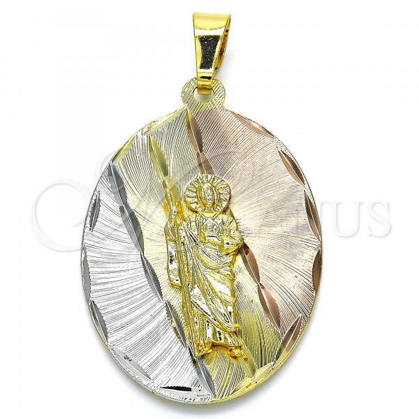Gold Layered 05.253.0053 Religious Pendant, San Judas Design, Diamond Cutting Finish, Tri Tone