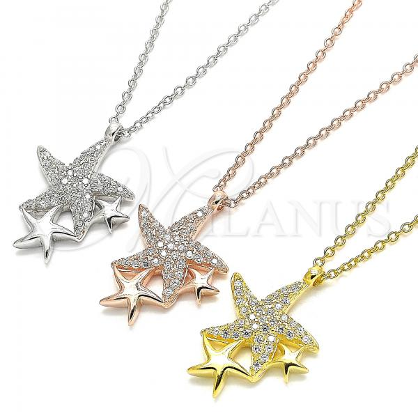 Sterling Silver Pendant Necklace, Star Design, with Cubic Zirconia, Rhodium Tone