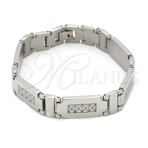 Stainless Steel 03.63.1564.08 Solid Bracelet, Polished Finish, Steel Tone