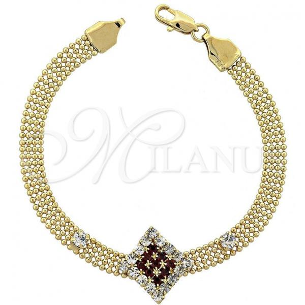 Gold Layered 5.022.007 Fancy Bracelet, with  Cubic Zirconia, Golden Tone