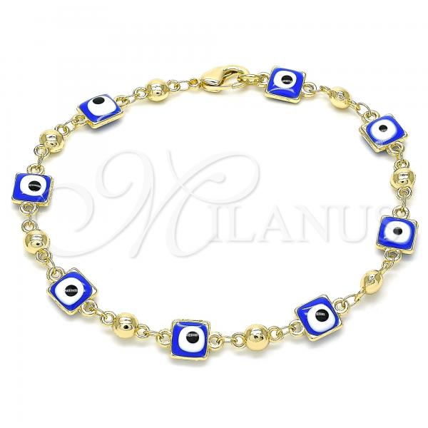 Gold Layered 03.213.0097.1.08 Fancy Bracelet, Greek Eye Design, Blue Enamel Finish, Golden Tone