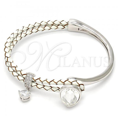 Rhodium Plated Individual Bangle, Teardrop Design, with Swarovski Crystals and Micro Pave, Rhodium Tone