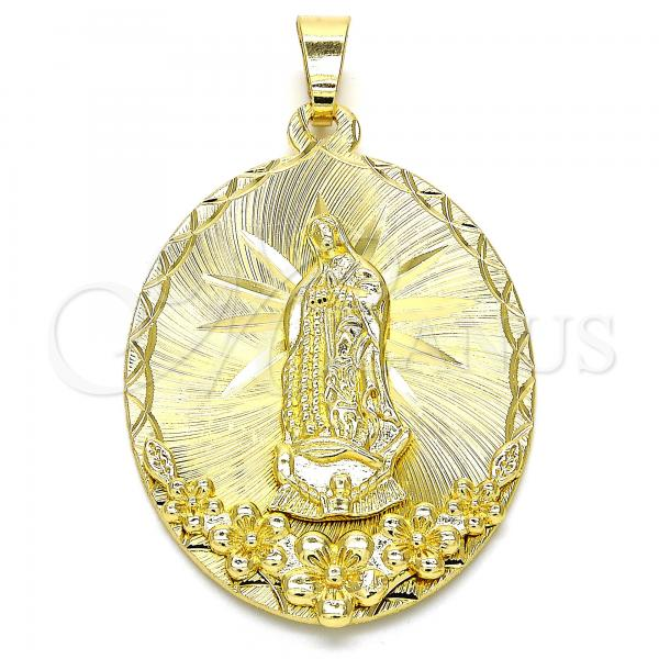 Gold Layered 05.213.0056 Religious Pendant, Guadalupe and Flower Design, Diamond Cutting Finish, Golden Tone