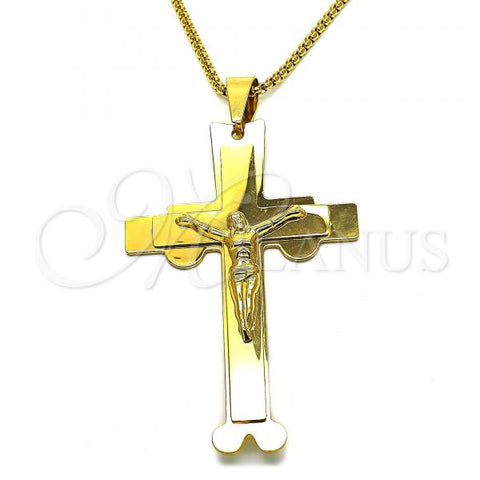 Stainless Steel 04.116.0049.30 Fancy Necklace, Crucifix Design, Polished Finish, Golden Tone
